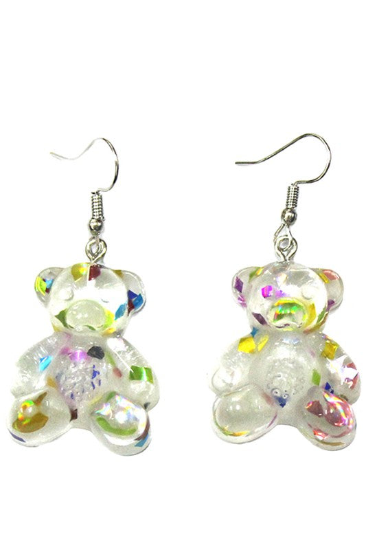 Glitter Teddy Earrings - Clear