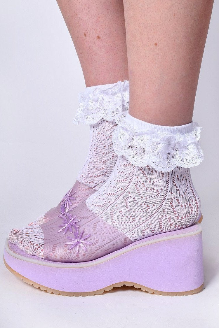 Ruffle Heart Ankle Socks - White