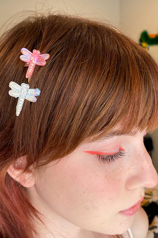 90's Iridescent Dragonfly Hair Clips