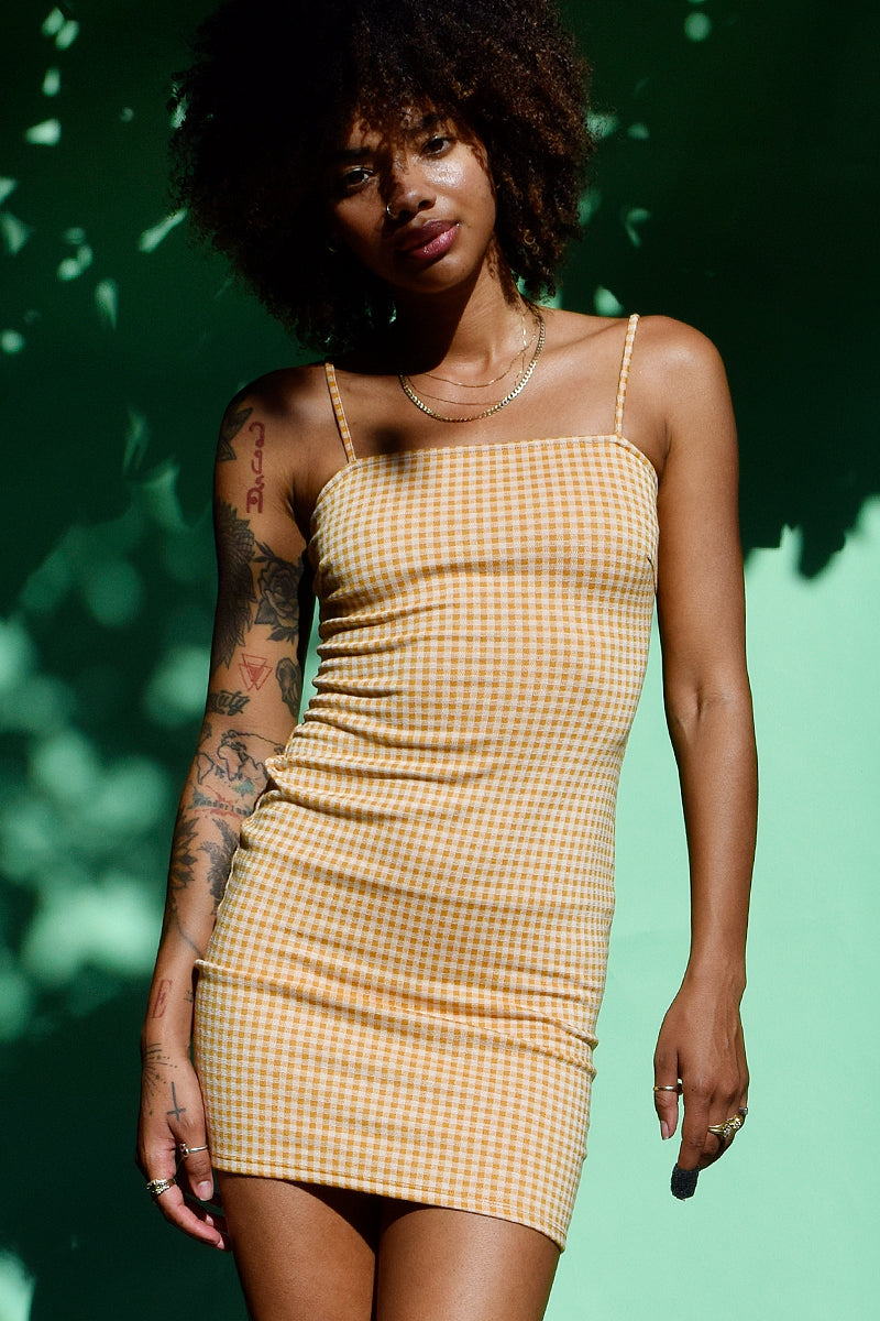 Mission Gingham Straight Neck Dress