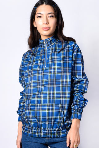 Blue Checked Zip Pullover By Daisy Street