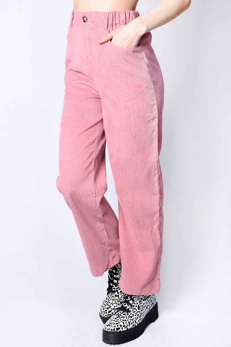 Darcy Wide Leg Corduroy Trousers - Blush