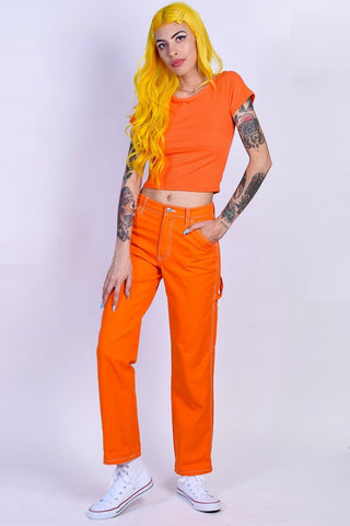 Orange Relaxed Carpenter Pants by Dickies Girl