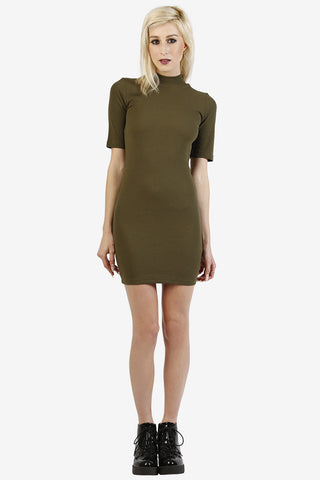 Lonna Ribbed Mock Neck Dress - Olive