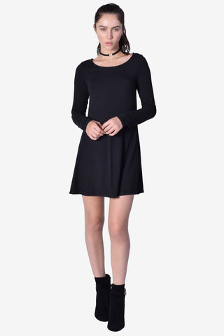 Nastia Long Sleeve Shift Dress - Black