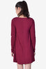 Nastia Long Sleeve Shift Dress - Maroon