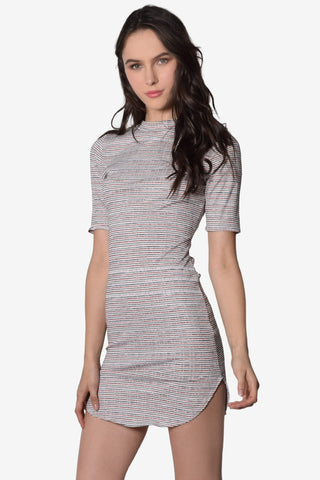 Elle Mock Neck Striped Dress - Peach