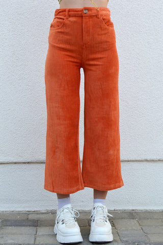 Love Buzz Wide Leg Corduroy Pants - Poppy