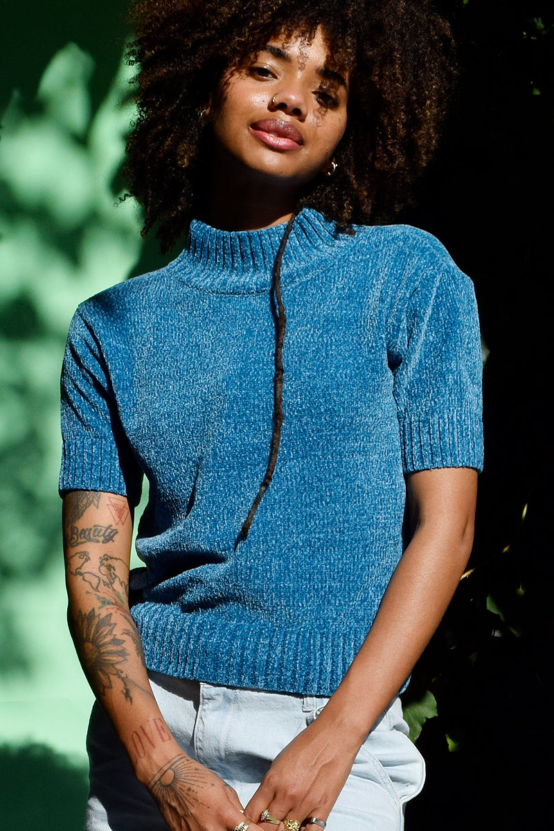 Gigi Mock Neck Sweater Tee - Teal
