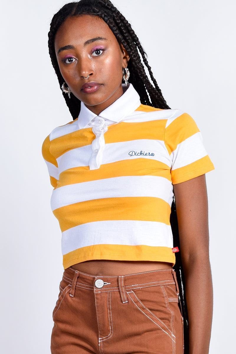 Yellow Stripe Boxy Polo by Dickies Girl