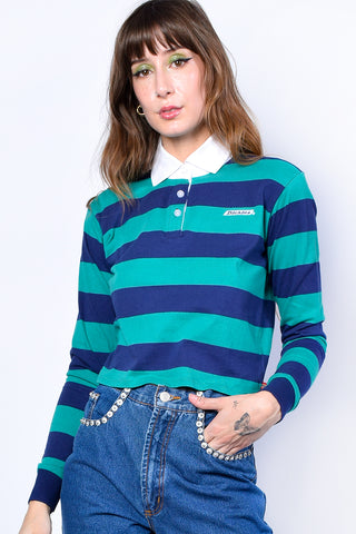 Green Striped Crop Rugby Shirt by Dickies Girl