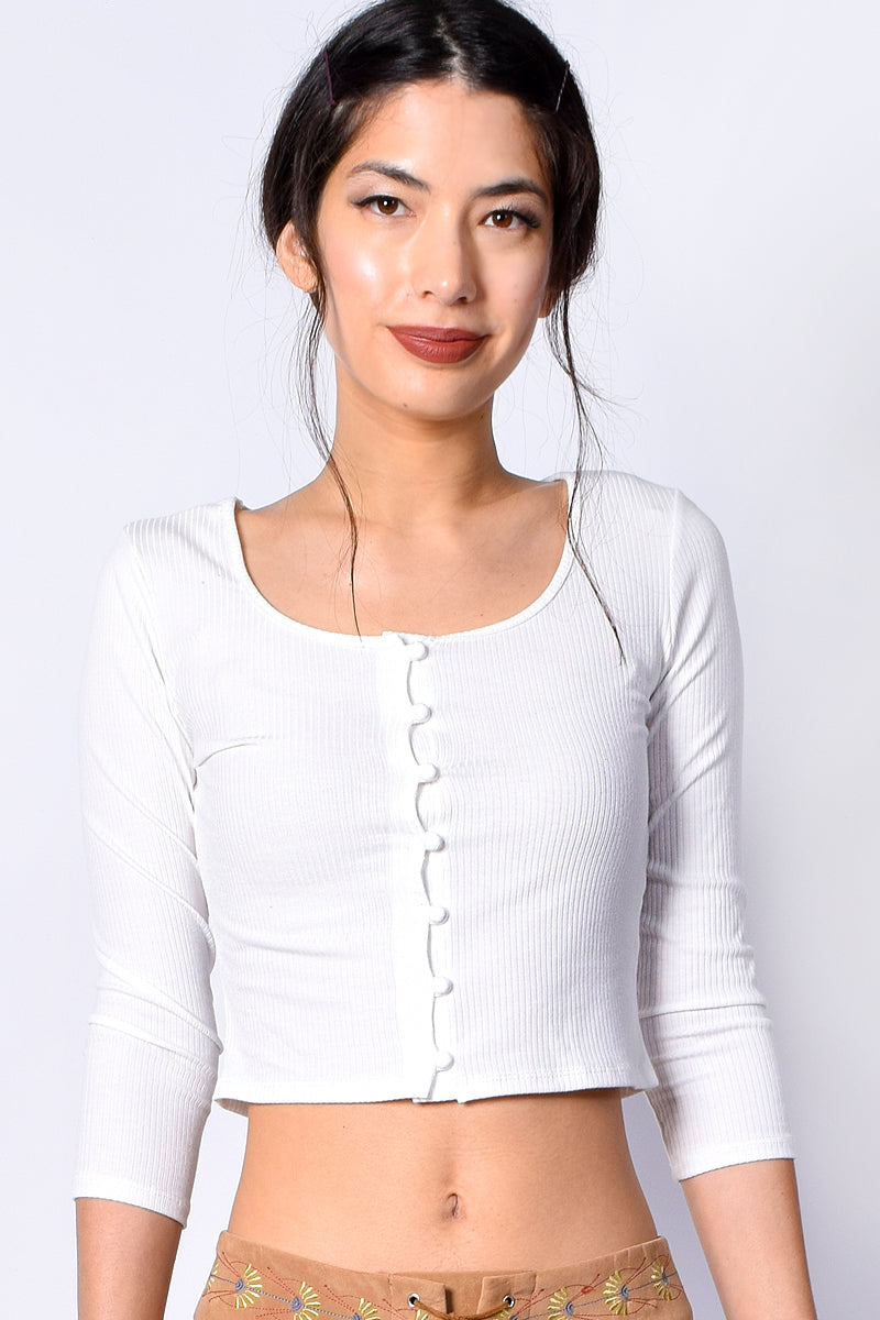 Elias Button Front Ribbed Top - White