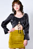 Ely Sheen Tie Front Crop Blouse