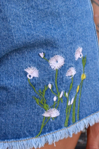Deadstock Embroidered Flower Denim Cut Offs