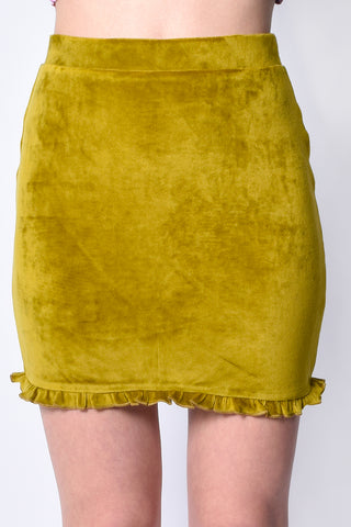 Fairy Dreams Velvet Ruffle Skirt - Pear