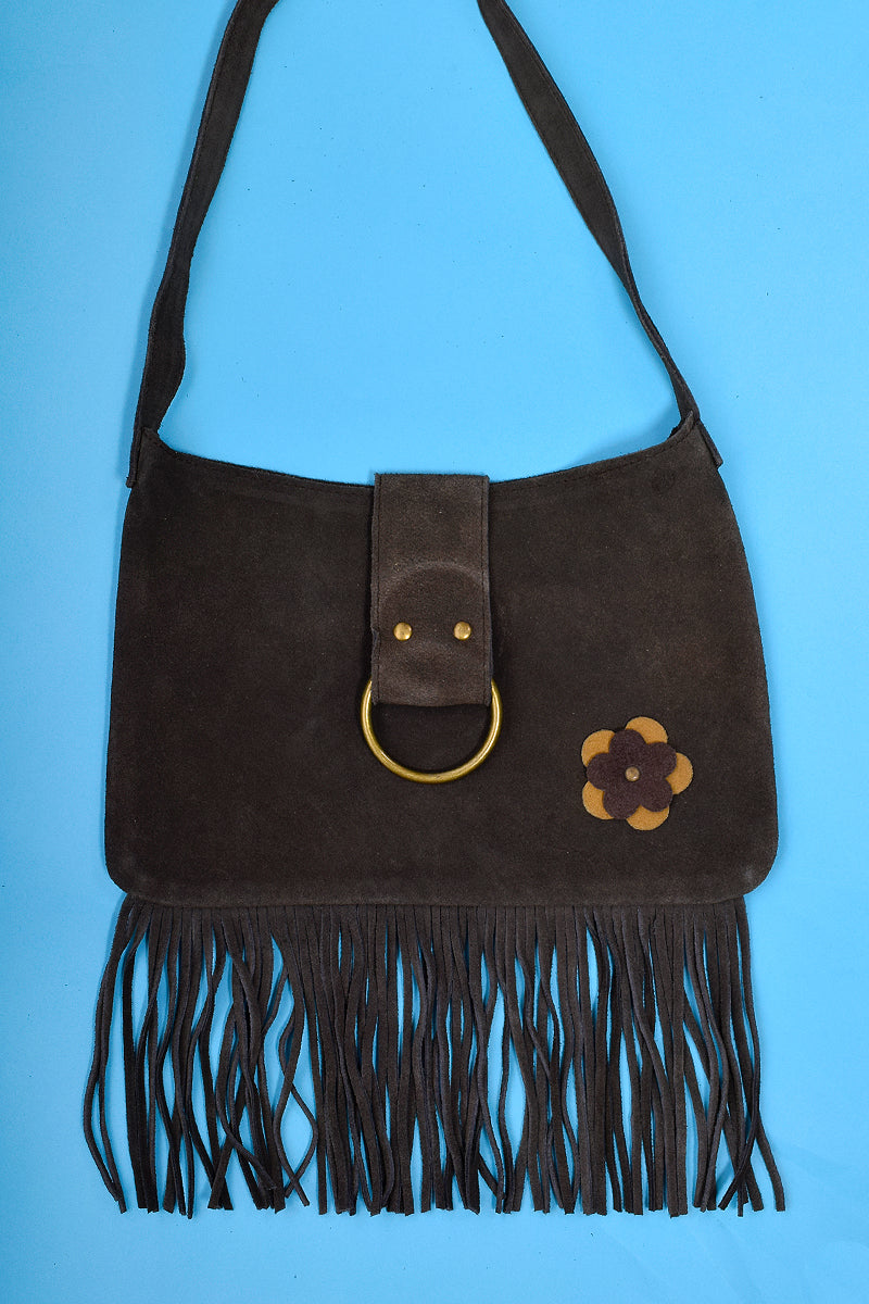 Deadstock Flower Power Fringe Suede Bag