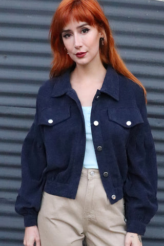 Daydream Navy Corduroy Bishop Sleeve Jacket