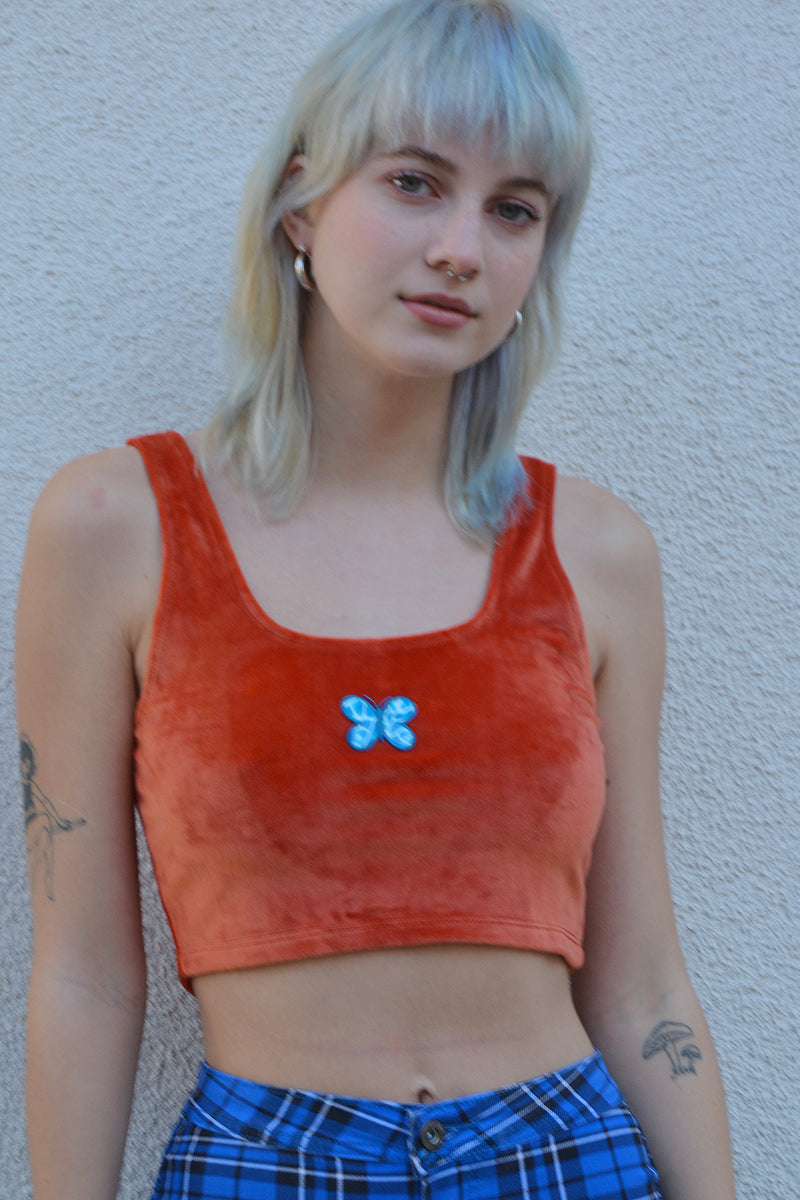ECH Collection Butterfly Velvet Crop Top - Flame