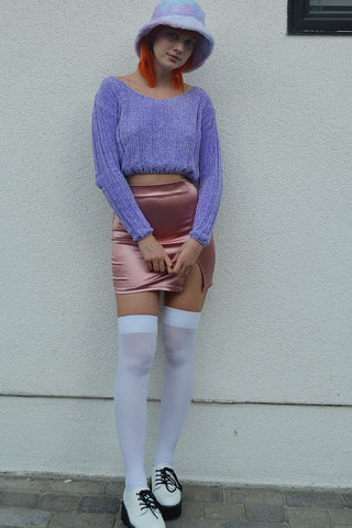Follow Me Chenille V Neck Crop Sweater - Lavender