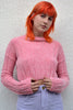 Follow Me Chenille Mock Neck Crop Sweater - Pink