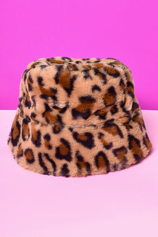 On Tour Leopard Furry Bucket Hat