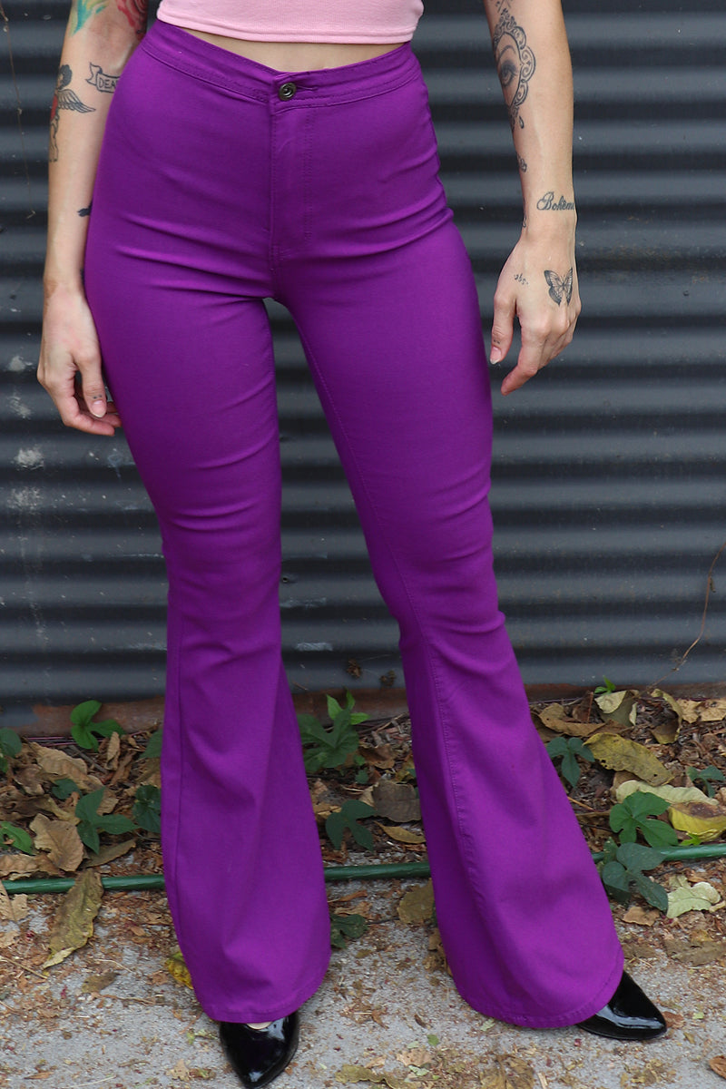 Ziggy Extra Wide Flare Pants - Plum