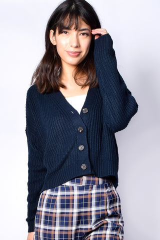 Navy Gallagher Ribbed Knit Cardigan