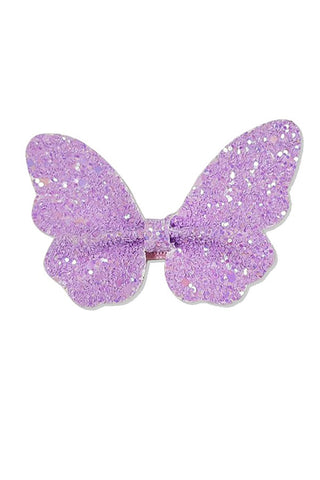 Glitter Butterfly Clip - Lilac