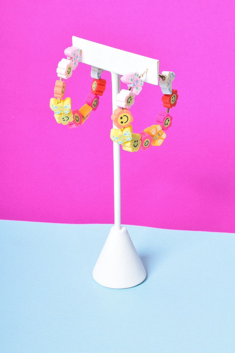 Happy Go Lucky Hoop Earrings