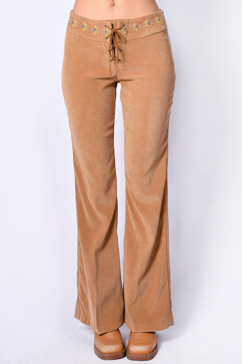 Deadstock Harmony Floral Tie Up Flares - Tan