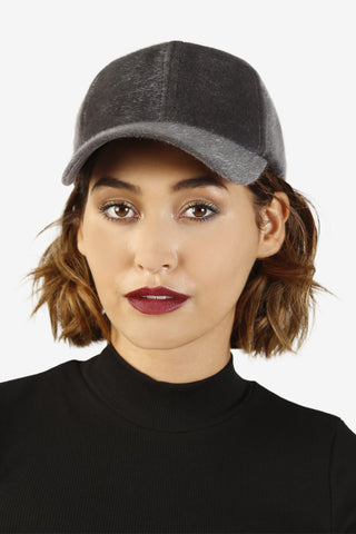 Fuzzy BB Girl Ball Cap - Grey