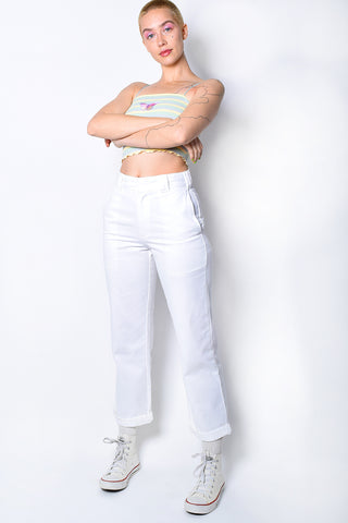 White Rolled Hem Work Pant by Dickies Girl