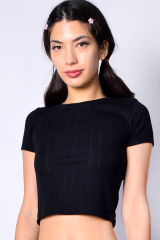 Remi Pointelle Top - Black