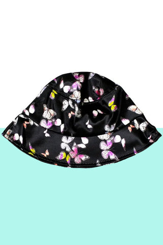 Butterflies Black Satin Bucket Hat