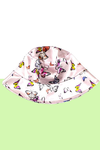 Butterflies Pink Satin Bucket Hat