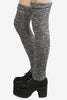 Grey Speckled Knit Thigh High Socks at EchoClubHouse side image