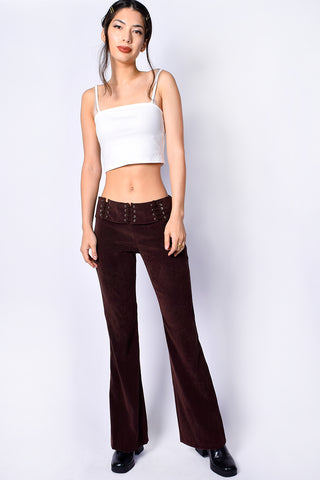 Deadstock Mariah Belted Flares - Dark Brown