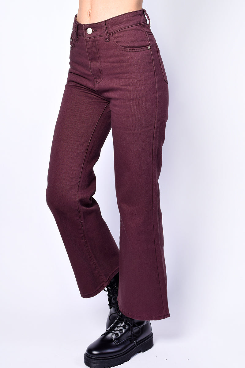 Rosalie Cropped Kick Flare Denim - Merlot