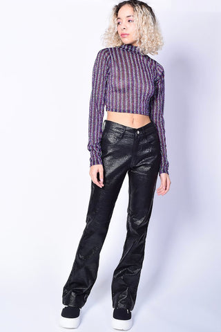 Metallic Gaia Mock Neck Top