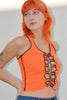 Malmö Contrast Stitch Lace Up Tank - Tangerine