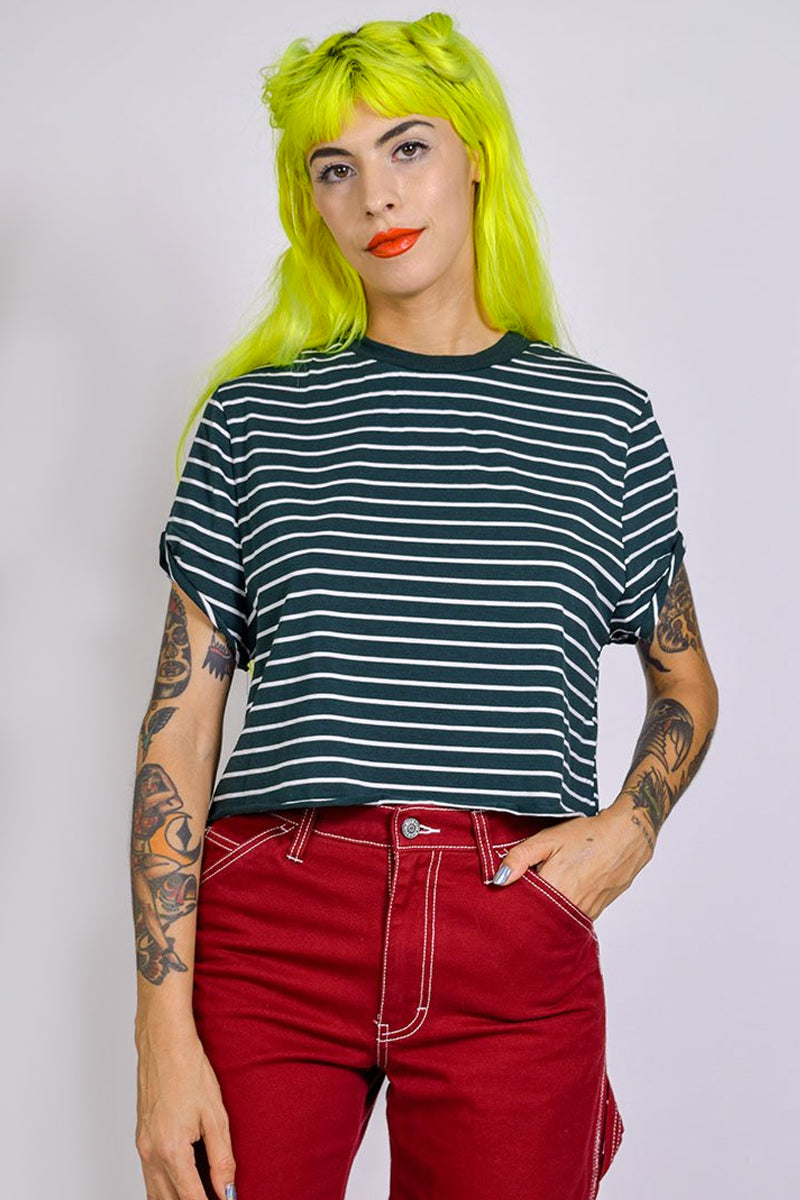 Nadia Boxy Stripe Tee - Hunter Green