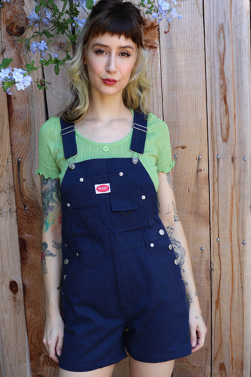 Over It Deadstock Overalls - Navy Blue