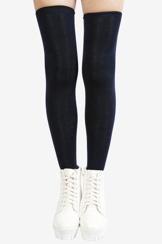 Navy Blue Thigh High Socks