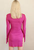 Norrköping Fuchsia Mock Neck Contrast Dress
