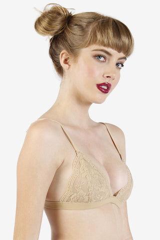 Lace Triangle Bra - Nude