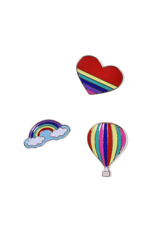 Love & Rainbows Pin Set - Red