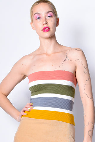 Party Line Colorblock Knit Tube Top