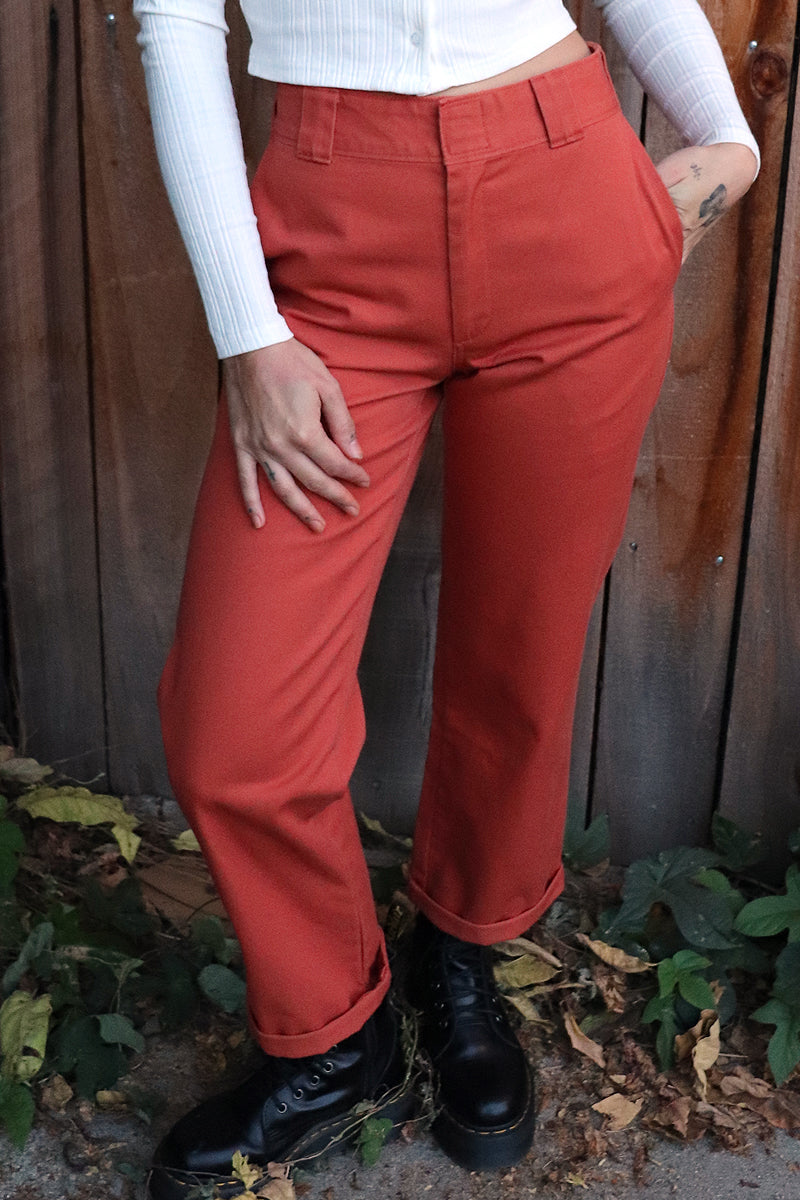 Rust Rolled Hem Work Pant by Dickies Girl