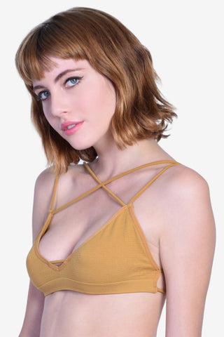 Double Crossed Bra - Mustard