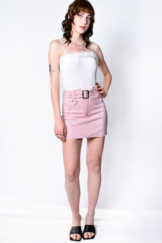 Stars Are Blind BB Pink Rhinestone Belted Skirt